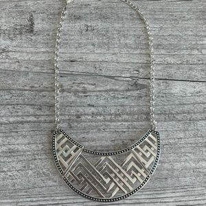 H&M Silver and Black Bib Necklace